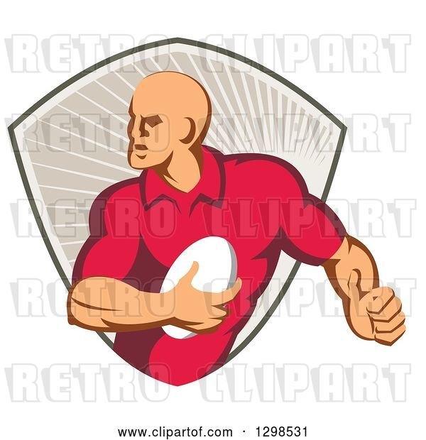 Vector Clip Art of Retro Male Rugby Player Running in a Taupe Ray Shield