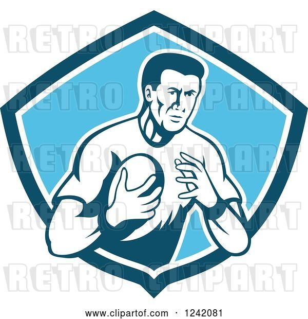 Vector Clip Art of Retro Male Rugby Player with a Ball in a Blue Shield