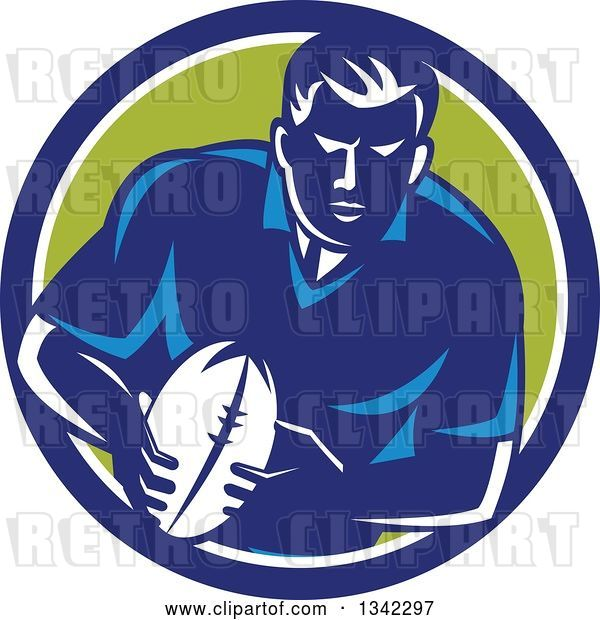 Vector Clip Art of Retro Male Rugby Player with the Ball Inside a Blue White and Green Circle