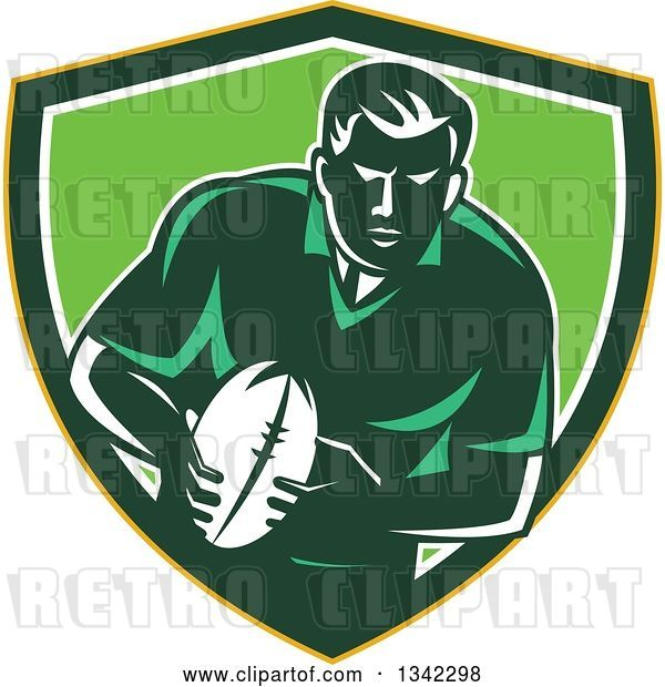 Vector Clip Art of Retro Male Rugby Player with the Ball Inside a Yellow Green and White Shield