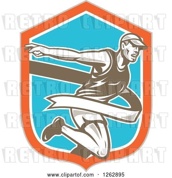 Vector Clip Art of Retro Male Runner Breaking Through a Finish Line in a Taupe Orange White and Blue Shield