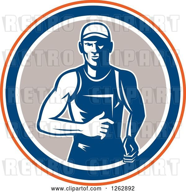 Vector Clip Art of Retro Male Runner in an Orange White Blue and Taupe Circle