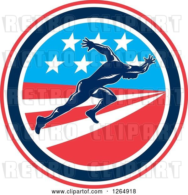 Vector Clip Art of Retro Male Runner Sprinting in an American Flag Circle