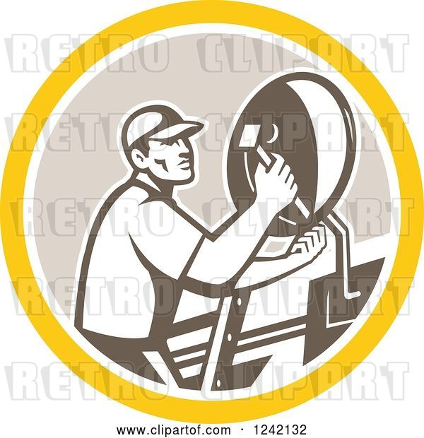 Vector Clip Art of Retro Male Satellite Installer Adjusting a Dish in a Circle