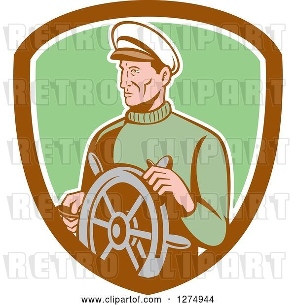 Vector Clip Art of Retro Male Sea Captain at the Wheel in a Brown White and Green Shield