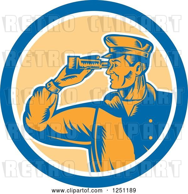 Vector Clip Art of Retro Male Sea Captain Using Binoculars in a Circle