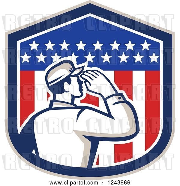 Vector Clip Art of Retro Male Soldier Saluting in an American Flag Shield