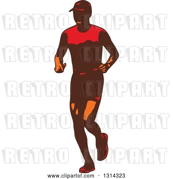 Vector Clip Art of Retro Male Triathlete or Marathon Runner 3