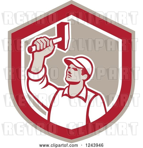 Vector Clip Art of Retro Male Union Worker Hammering in a Shield