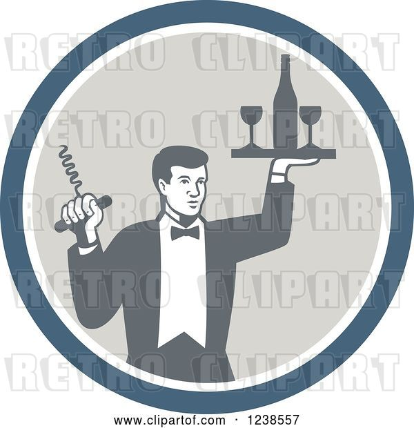 Vector Clip Art of Retro Male Waiter Serving Wine in a Circle