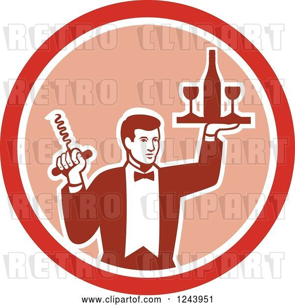 Vector Clip Art of Retro Male Waiter Serving Wine in a Pink and Red Circle