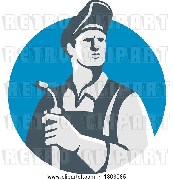 Vector Clip Art of Retro Male Welder Holding a Torch in a Blue Shield