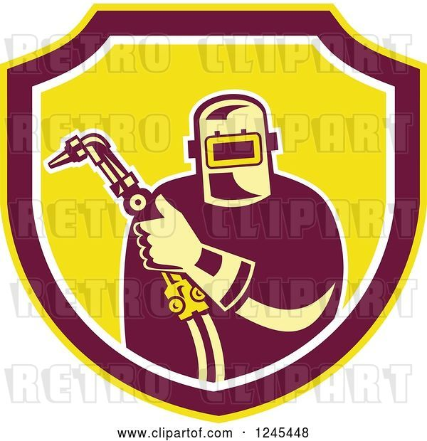 Vector Clip Art of Retro Male Welder Holding His Tool in a Shield