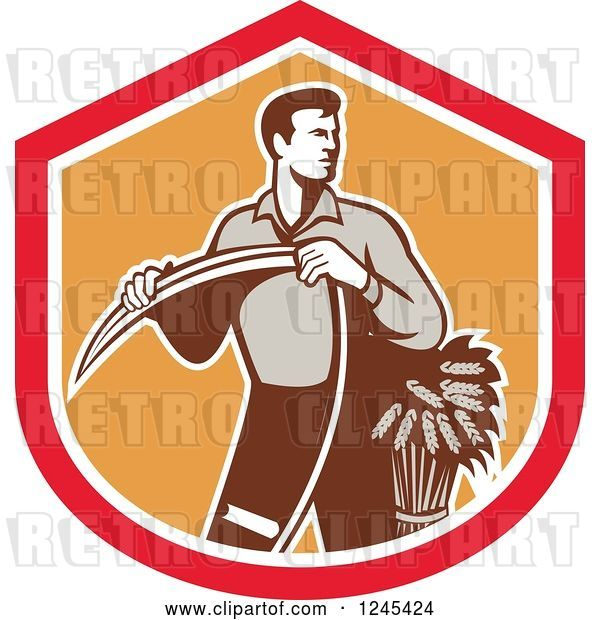 Vector Clip Art of Retro Male Wheat Farmer Holding a Scythe in a Red and Orange Shield