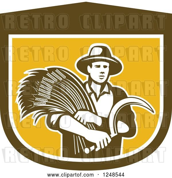 Vector Clip Art of Retro Male Wheat Farmer Holding a Scythe in a Shield