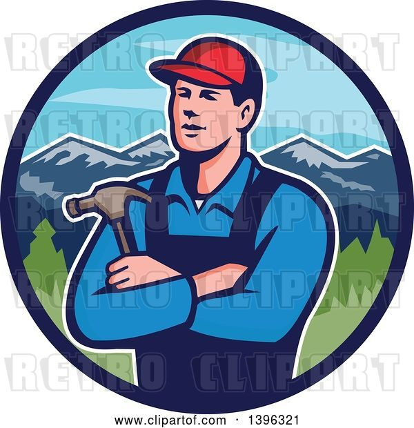Vector Clip Art of Retro Male White Carpenter with Folded Arms, Holding a Hammer in a Circle of Mountains