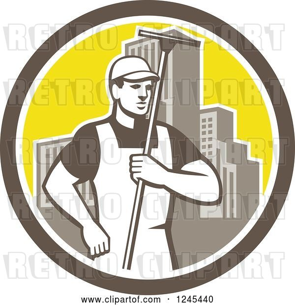 Vector Clip Art of Retro Male Window Washer Holding a Squeegee in a City Circle