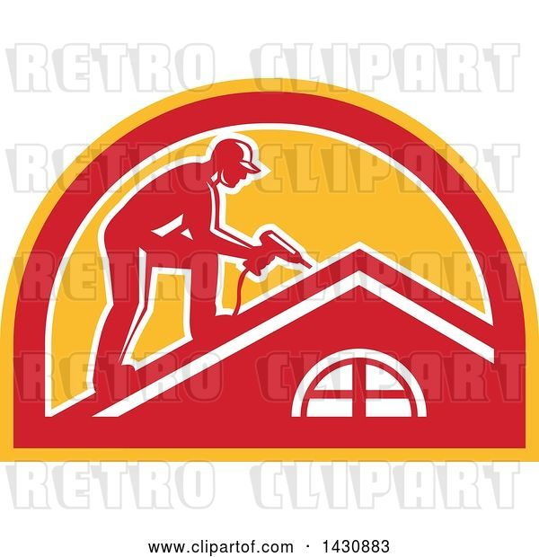 Vector Clip Art of Retro Male Worker Using a Hand Drill on a Roof in a White, Red and Orange Half Circle