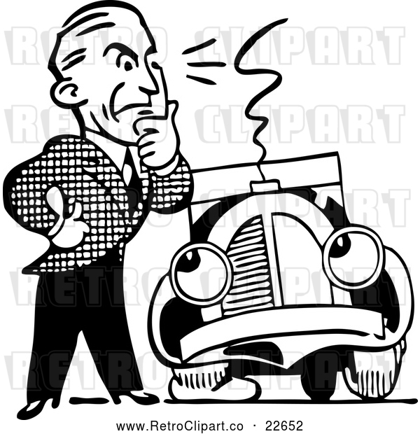Vector Clip Art of Retro Man and Car with a Flat Tire