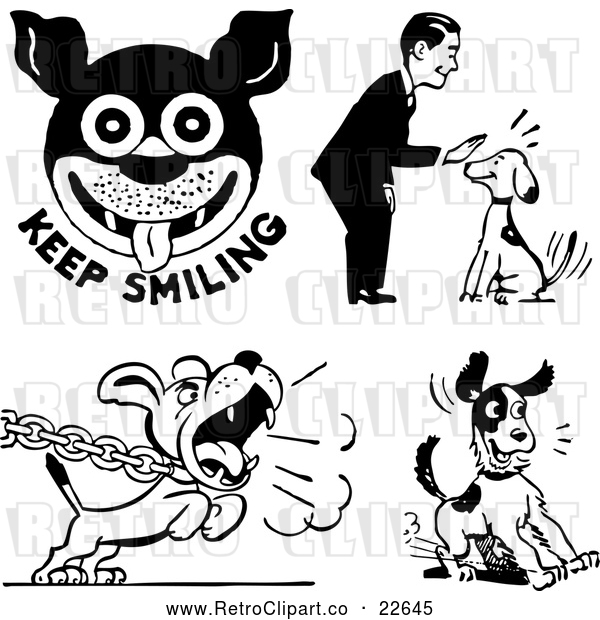 : Vector Clip Art of Retro Man and Dogs