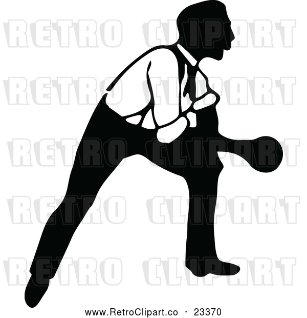 Vector Clip Art of Retro Man Bowling 7