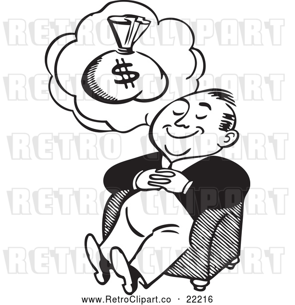 Vector Clip Art of Retro Man Dreaming of Money