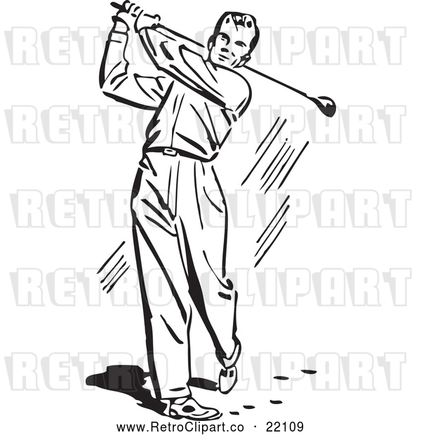 Vector Clip Art of Retro Man Golfing