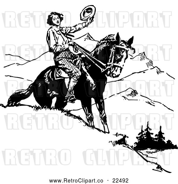 Vector Clip Art of Retro Man Holding His Hat on Horseback