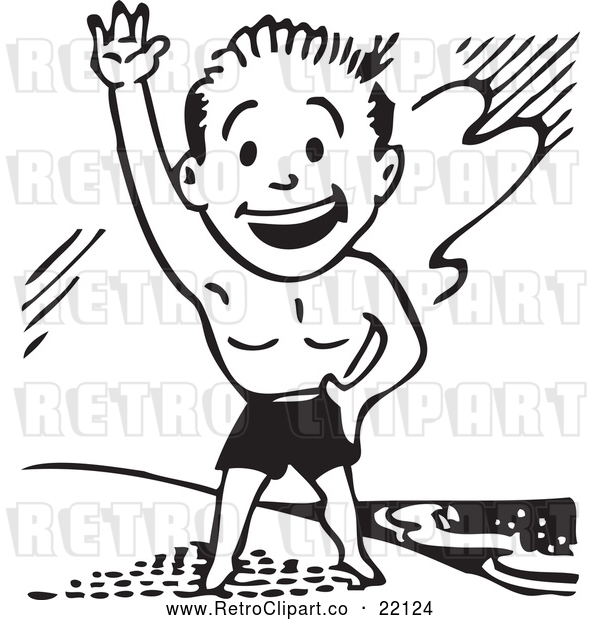Vector Clip Art of Retro Man in Swim Trunks, Waving on a Beach