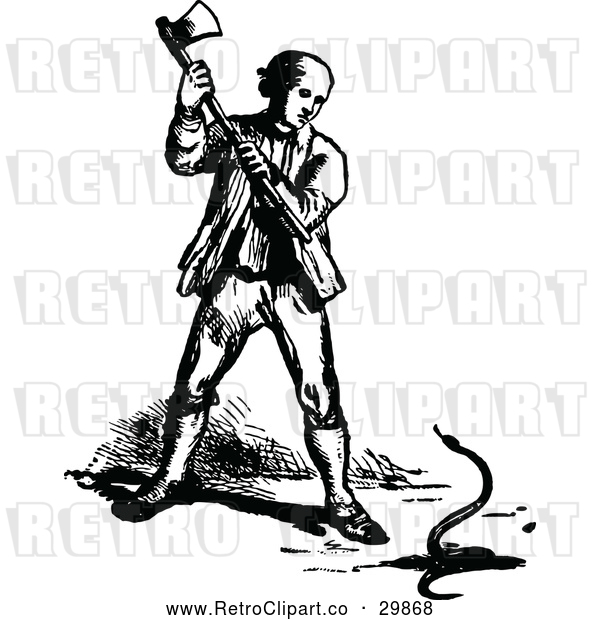Vector Clip Art of Retro Man Killing a Snake with an Axe