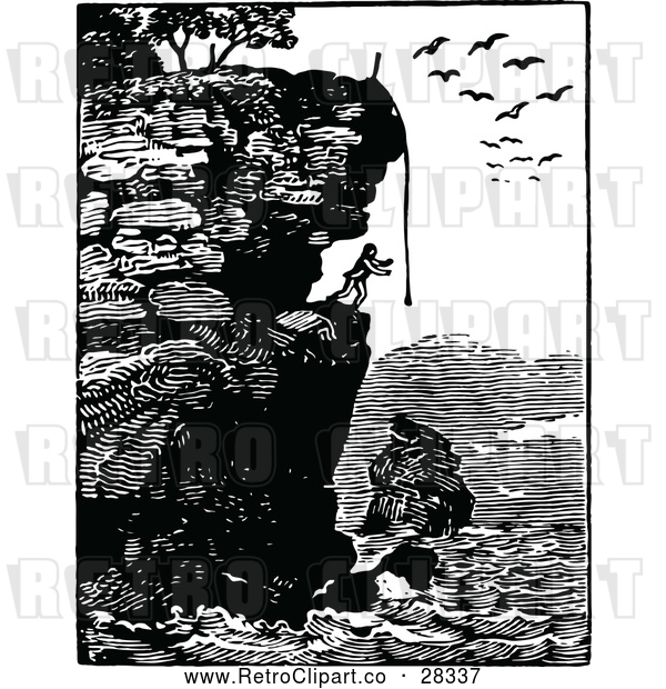 Vector Clip Art of Retro Man on a Coastal Cliff