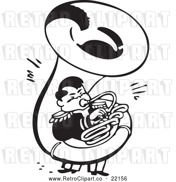 Vector Clip Art of Retro Man Playing a Sousaphone