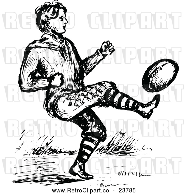 Vector Clip Art of Retro Man Playing Football