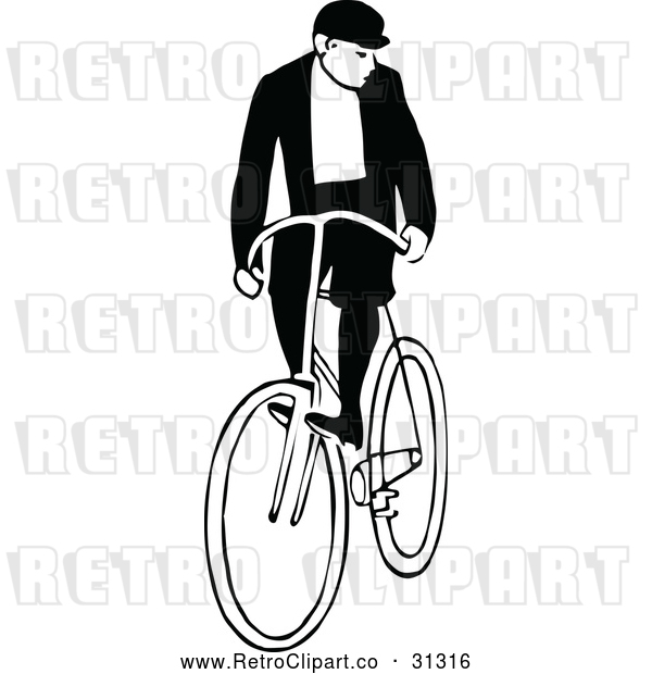 : Vector Clip Art of Retro Man Riding a Bicycle 3