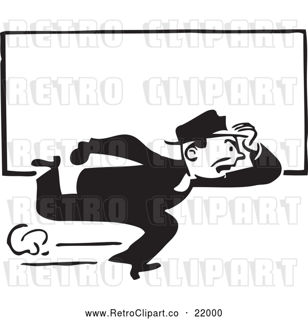 : Vector Clip Art of Retro Man Running with a Blank Sign