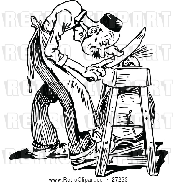 Vector Clip Art of Retro Man Sharpening a Knife