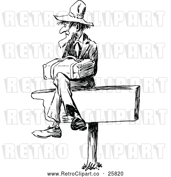 Vector Clip Art of Retro Man Sitting on a Sign