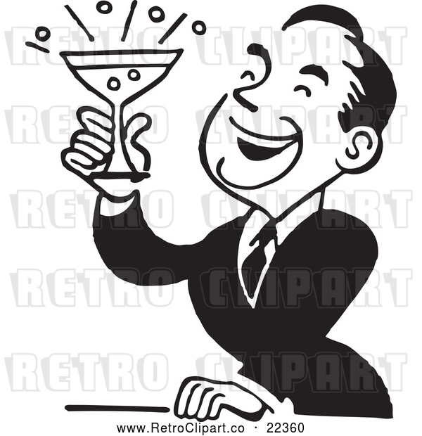 Vector Clip Art of Retro Man Smiling and Holding up a Cocktail