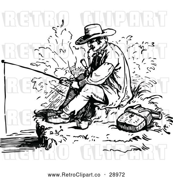 : Vector Clip Art of Retro Man Smoking a Pipe and Fishing