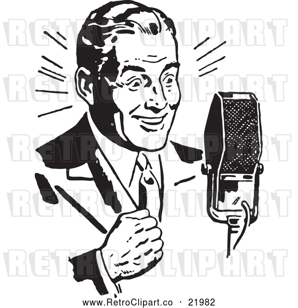 Vector Clip Art of Retro Man Speaking into a Microphone