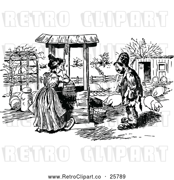 Vector Clip Art of Retro Man Talking to a Woman Fetching Water at a Well