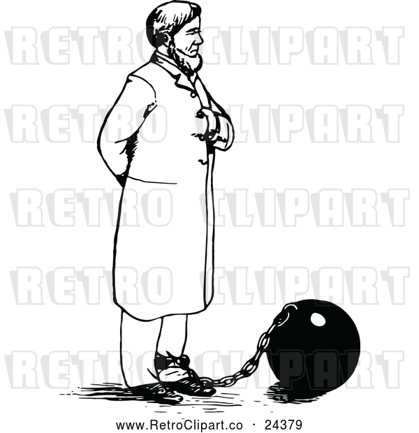: Vector Clip Art of Retro Man Tied to a Ball and Chain