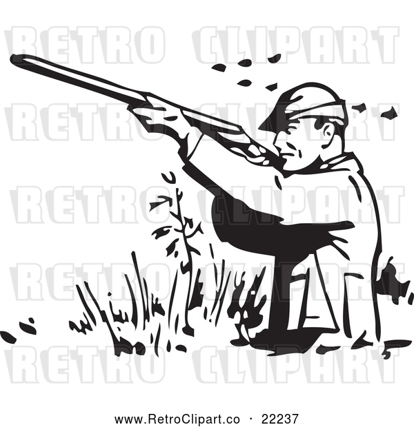 Vector Clip Art of Retro Man Wading and Shooting at Ducks