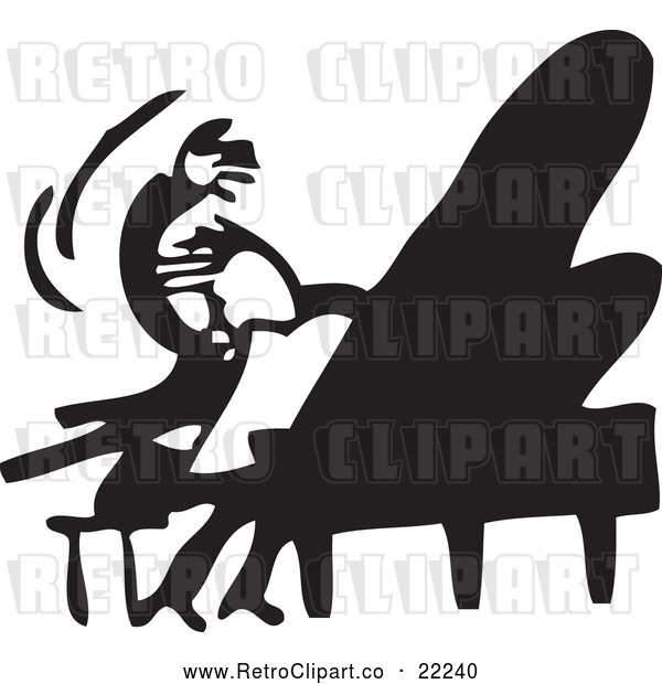 : Vector Clip Art of Retro Man Wildly Playing a Piano