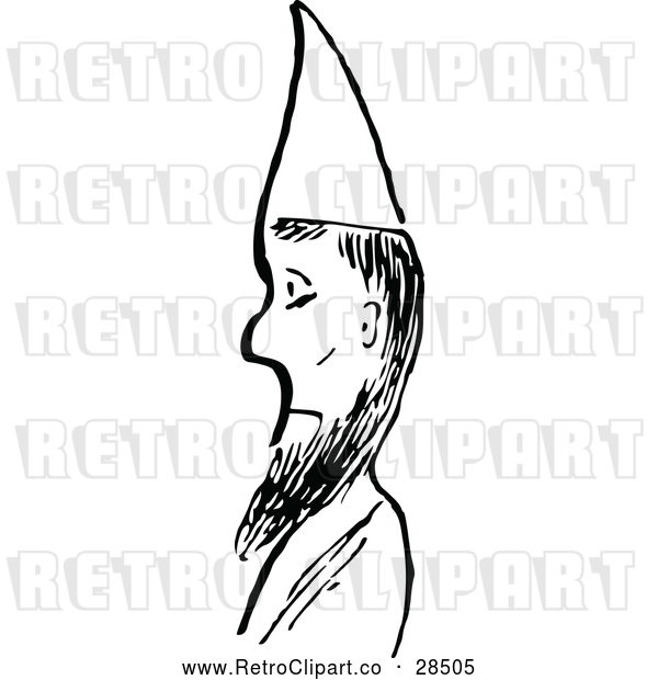 Vector Clip Art of Retro Man with a Beard and Cone Hat