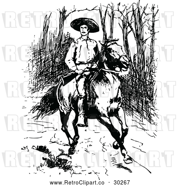 Vector Clip Art of Retro Man with a Rifle on a Horse