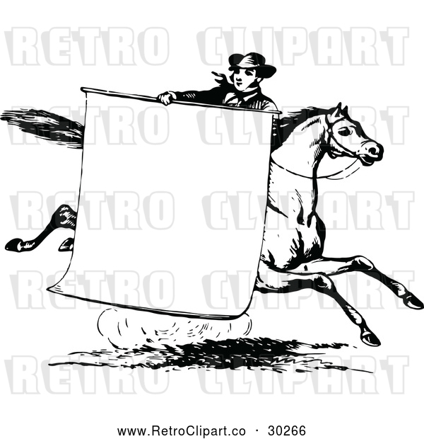 Vector Clip Art of Retro Man with a Sign on a Horse