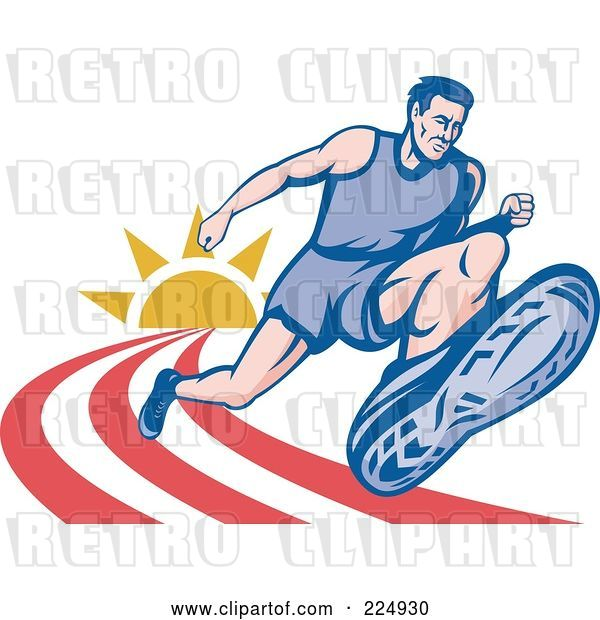 Vector Clip Art of Retro Marathon Runner on a Track Logo