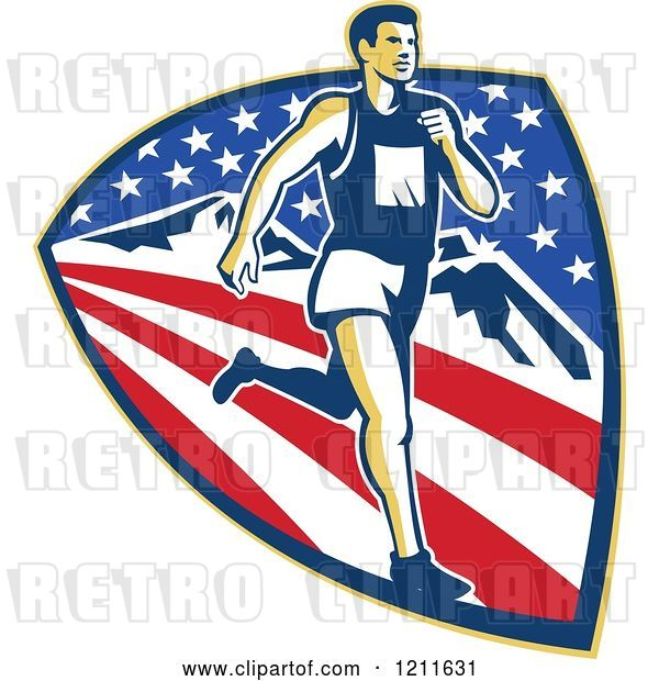 Vector Clip Art of Retro Marathon Runner over a Mountain American Stars and Stripes Shield