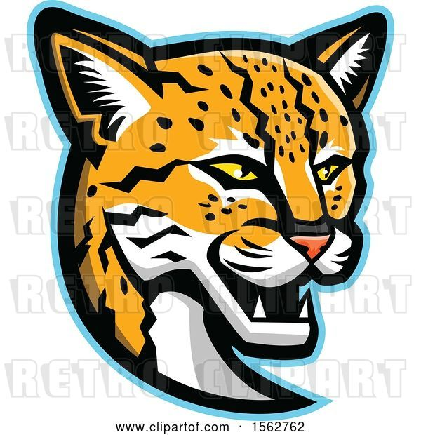 Vector Clip Art of Retro Margay Cat Mascot Head